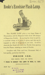 Advert for Rooke's Excelsior Flash Lamp